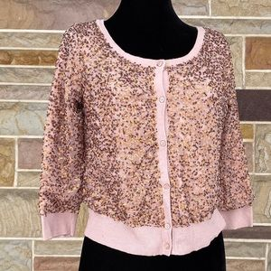 American Eagle Sequined Cropped Cardigan Sweater